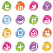 Vector 3d Glossy Awesome Social Icons - Stock Vector