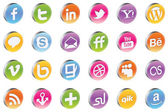 Vector 3d Glossy Awesome Social Icons — Stock Vector