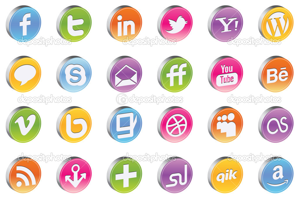Vector 3d Glossy Awesome Social Icons for your networks and favorite social sites — Stock Vector #5686145