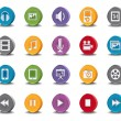 Vector 3d Oval Multimedia  Icons - Stock Vector
