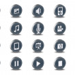 Vector 3d Oval Mono Multimedia Inset Icons - Stock Vector