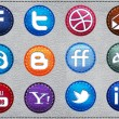 Vector Leather Social icons - Stok Vektör