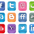 Vector Realistic Inset Social Media Icons — Stock Vector