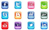 Vector Realistic Social Media Icons — Stock Vector