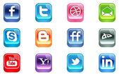 Vector Realistic Social Media Icons — Stock Vector