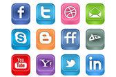 Vector Realistic Inset Social Media Icons — Stock Vector
