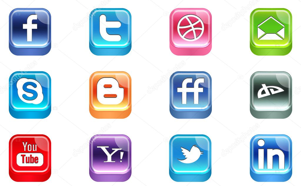 Vector Realistic Social Media Icons — Stock Vector #5855024