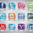 Silver Social Media Icons — Stockvektor