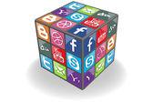 Social Rubic Cube — Stock Vector