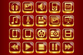 Royal Red Multimedia Icons — Stock Vector