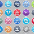 Coin Social Media Icons - Stock Vector
