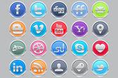 Coin Social Media Icons — Stock Vector