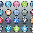 Stock Vector: 20 silver inset social media icons