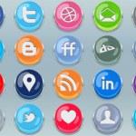 Push Social Media Buttons — Stock Vector