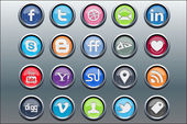 20 silver inset social media icons — Stock Vector