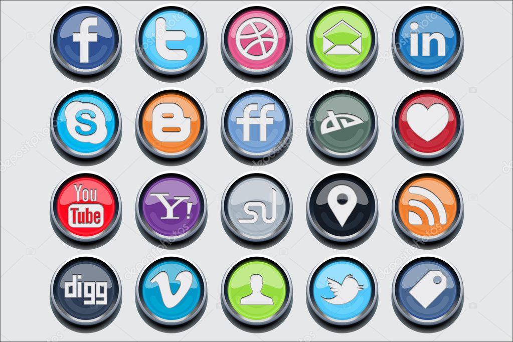 20 social media classic icons for your website or mobile device — Stock Vector #6054500
