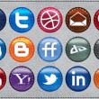 Leather Glossy Social Media icons - Stock Vector
