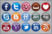 Leather Glossy Social Media icons — Stock Vector
