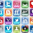 Plastic Social Media icons — Stock Vector