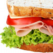 Ham Sandwich Closeup — Stock Photo