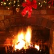 christmas fireplace — Stock Photo