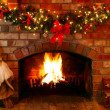 Christmas Fireplace - Stock Photo