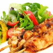 Chicken Satay and Salad - Stock Photo