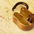 Antique Brass Padlock — Stock Photo