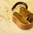 Antique Brass Padlock - Stock Photo