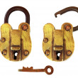 Vintage Brass Padlock, Open and Closed - Stock Photo