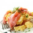 Stock Photo: Smoked Salmon Scrambled Eggs