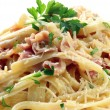 Fettucine Carbonara — Stock Photo