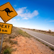 Outback Kangaroo Sign - Stock Photo