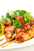 Chicken Satay and Salad — Stock Photo