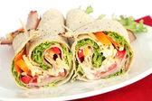 Ham Wrap Sandwich — Stock Photo