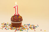 Cupcake with Number One Candle — Foto Stock
