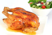 Roast Chicken and Salad — Stock Photo