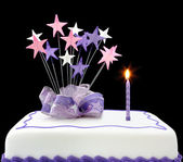 Cake with Single Candle — Stock Photo