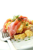 Smoked Salmon Scrambled Eggs — Stock Photo