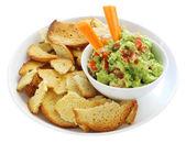 Guacamole with Bagel Crisps — Stock Photo