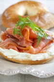 Smoked Salmon Bagel — Stock Photo