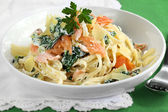 Smoked Salmon Pasta — Stock Photo