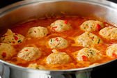 Cooking Chicken Meatballs — Stock Photo