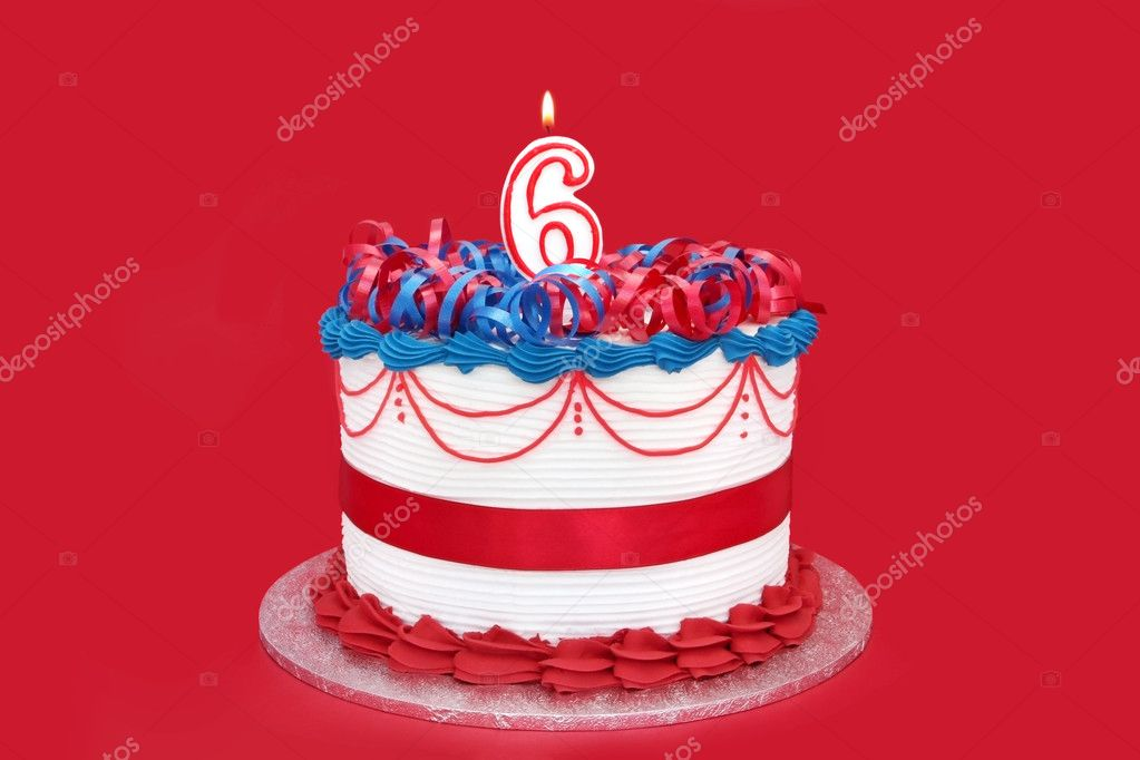 Cake with number six numeral candle, on vibrant red background. — Stock Photo #5526005