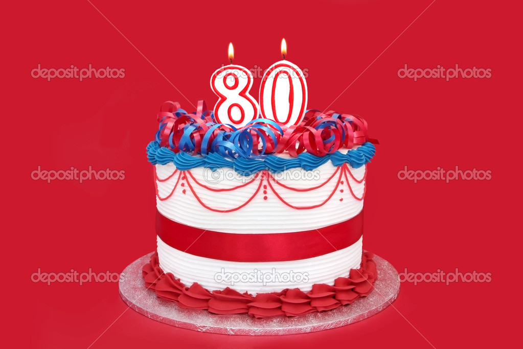 80th cake with numeral candles, on vibrant red background. — Stock Photo #5526018