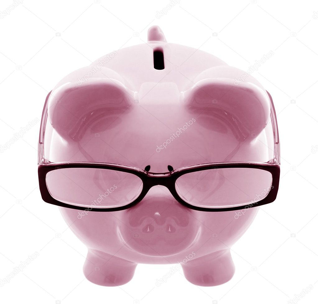 Piggy bank wearing spectacles - a thoughtful investor.  Stock Photo #5526406