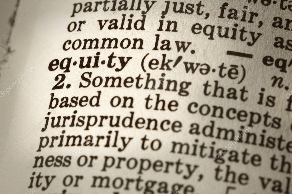 Dictionary definition of the word equity.  Close-up view, with sepia tone and differential focus. — Stock Photo #5527182