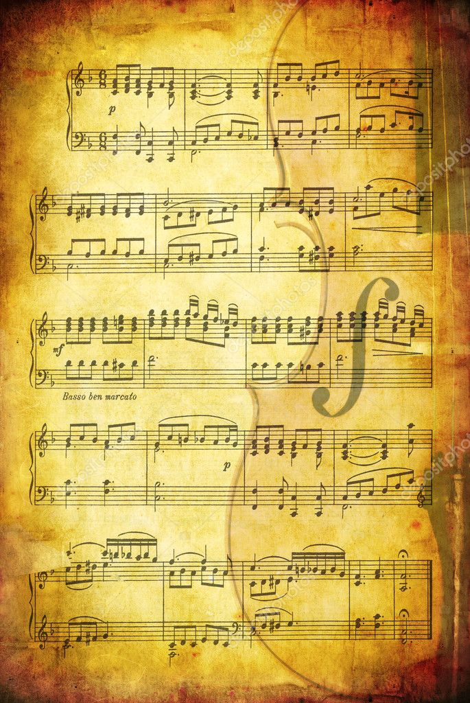 Grunge background with sheet music and a cello.  Great textures of paper and stone. — Stock Photo #5527242