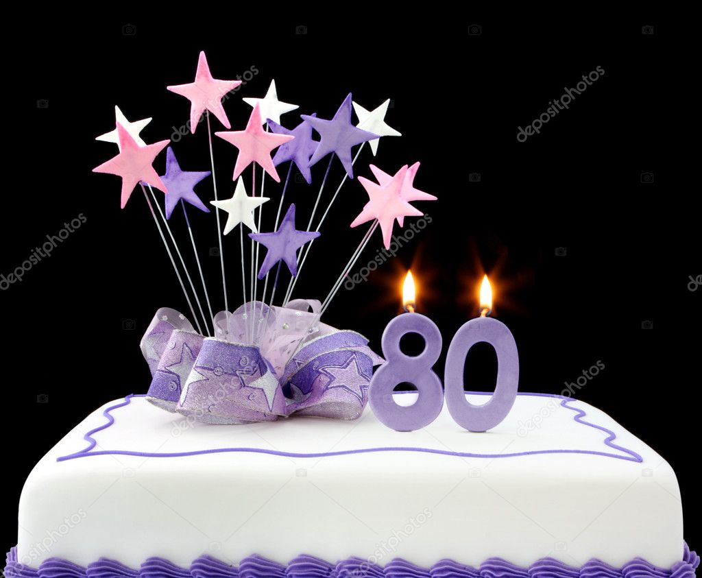 Fancy cake with number 80 candles.  Decorated with ribbons and star-shapes, in pastel tones over black background. — Stock Photo #5527730