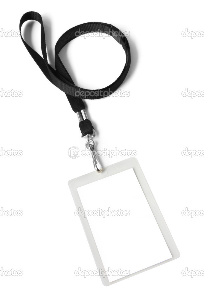 Security ID pass on a black lanyard.  Isolated on white, ready for your text. — Foto Stock #5527918